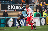 Gozie Ugwu of Wycombe Wanderers  & Jerome Okimo of Stevenage in action during the Sky Bet League 2 match between Wycombe Wanderers and Stevenage at Adams Park, High Wycombe, England on 12 March 2016. Photo by Andy Rowland/PRiME Media Images.