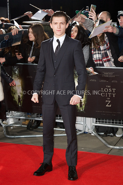 www.acepixs.com<br /> <br /> February 16 2017, London<br /> <br /> Tom Holland arriving at the UK premiere of 'The Lost City of Z' at The British Museum on February 16, 2017 in London<br /> <br /> By Line: Famous/ACE Pictures<br /> <br /> <br /> ACE Pictures Inc<br /> Tel: 6467670430<br /> Email: info@acepixs.com<br /> www.acepixs.com
