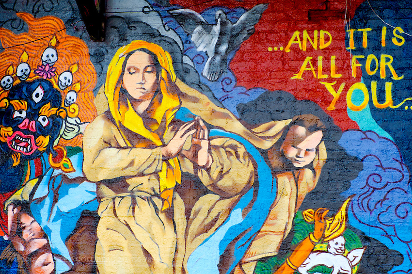 Colorful Mural;l Paintings on Lower East Side Wall, Manhattan