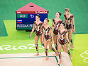 Russia team group (RUS),<br /> AUGUST 20, 2016 - Rhythmic Gymnastics :<br /> Group All-Around Qualification, Rotation 2 Clubs and Hoop at Rio Olympic Arena during the Rio 2016 Olympic Games in Rio de Janeiro, Brazil. (Photo by Enrico Calderoni/AFLO SPORT)