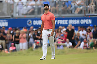 Matthieu Pavon (FRA) misses his putt on the 18th green during Sunday's Final Round of the 2018 Dubai Duty Free Irish Open, held at Ballyliffin Golf Club, Ireland. 8th July 2018.<br /> Picture: Eoin Clarke   Golffile<br /> <br /> <br /> All photos usage must carry mandatory copyright credit (&copy; Golffile   Eoin Clarke)