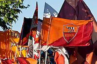 Roma 26 Maggio 2013.Le bandiere della A.S. Roma  .Italy Cup final, The flags of the A.S. Rome