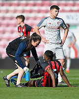 Injury concern for Nnamdi Ofoborh of AFC Bournemouth during AFC Bournemouth Under-21 vs Liverpool Under-21, Premier League Cup Football at the Vitality Stadium on 24th February 2019