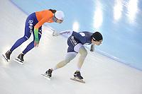 SPEEDSKATING: SOCHI: Adler Arena, 19-03-2013, Training, Margot Boer (NED), Daniel Greig (AUS), © Martin de Jong