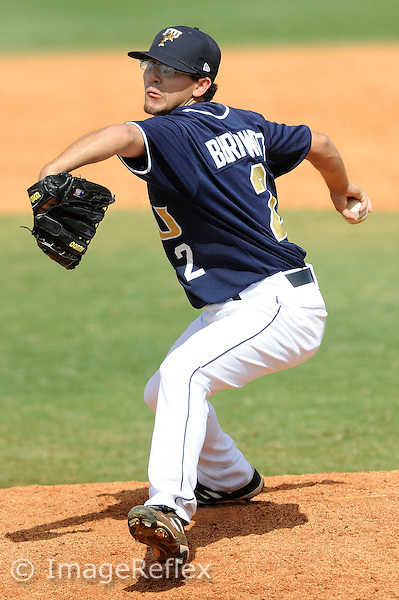 8 March2009:  FIU's Eric Berkowitz throws in relief in the Troy 6-5 victory over FIU at University Park Stadium in Miami, Florida.