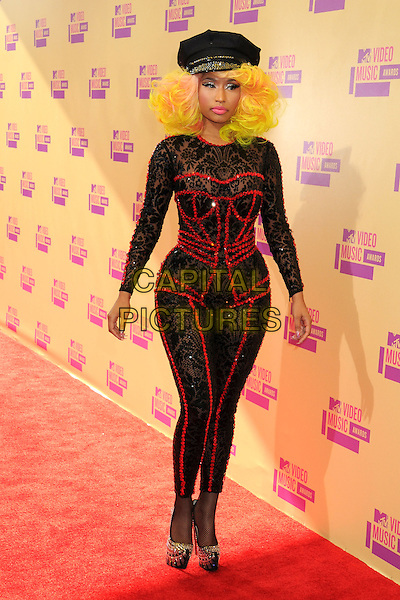 Nicki Minaj.Arrivals at the The 2012 MTV Video Music Awards held at Staples Center in Los Angeles, California, USA..September 6th, 2012.VMA's VMAS VMA full length lace catsuit red sequins sequined detailing neon yellow pink hued hair hat silver shoes.CAP/ADM/BP.©Byron Purvis/AdMedia/Capital Pictures.