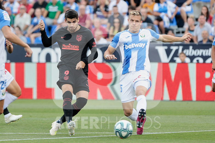CD Leganes's Rodrigo Tarin and Atletico de Madrid's Alvaro Morata during La Liga match between CD Leganes and Atletico de Madrid at Butarque Stadium in Madrid, Spain. August 25, 2019. (ALTERPHOTOS/A. Perez Meca)