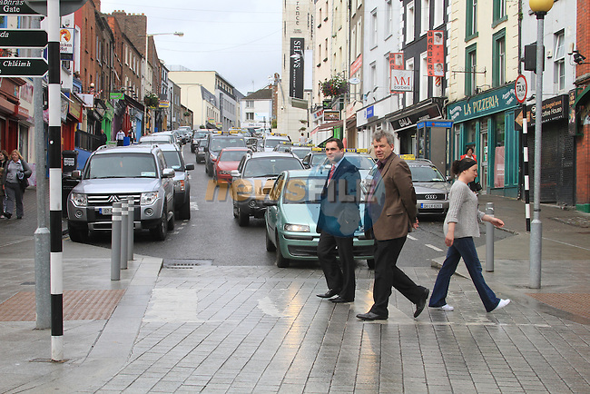 Mayor Kevin Callan and Micheal O'Dowd, with Traffic built up on West street and Peter Street..Picture Fran Caffrey www.newsfile.ie