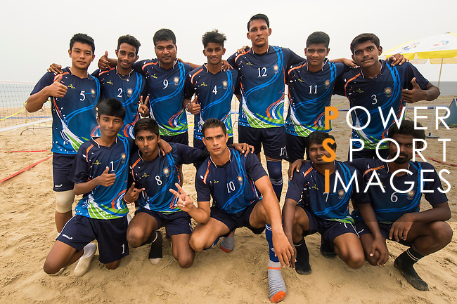Players of India Team pose for photos prior to their Beach Sepaktakraw Men's team competition between India and Thailand on Day Eight of the 5th Asian Beach Games 2016 at My Khe Beach on 01 October 2016, in Danang, Vietnam. Photo by Marcio Machado / Power Sport Images