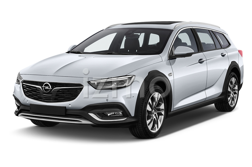 2018 Opel Insignia Country Tourer Exclusive 5 Door Wagon angular front stock photos of front three quarter view