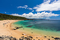Swimmers, snorkelers, sunbathers and others enjoy Waimea Bay Beach Park, North Shore, O'ahu.