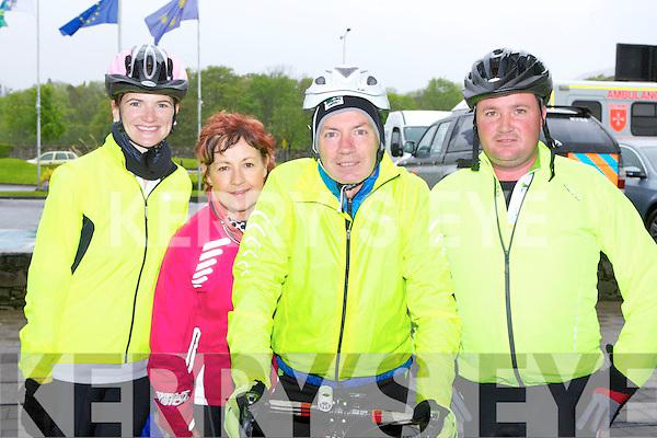 Christine Looney Kilgarvan, Kathleen galwey Barradubh, Tom O'Shea Kilcummin and Mike Brosnan Killarney lining up at the start of the Three Peaks Cycle in Killarney on Saturday