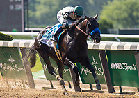 ELMONT, NY - JUNE 10: Mor Spirit #9, ridden by Mike Smith, wins the Mohegan Sun Metropolitan Handicap on Belmont Stakes Day at Belmont Park on June 10, 2017 in Elmont, New York (Photo by Jesse Caris/Eclipse Sportswire/Getty Images)