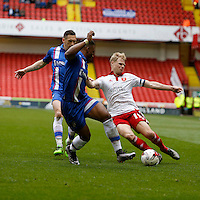 Sheffield United v Gillingham .Sky Bet League 1 ....... uniteds Jay McEveley loses out to Gills defence