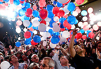 Balloons fall onto supporters in celebration after a Watch Party for John McCain, U.S. senator from Arizona and 2008 Republican presidential candidate, greets supporters after a Watch Party in Dallas, Texas, U.S., on Tuesday, March 4, 2008. McCain won the nomination for the Republican Party for the presidential nomination on Tuesday by receiving 1191 delegates. Photographer: Matt Nager/Bloomberg News