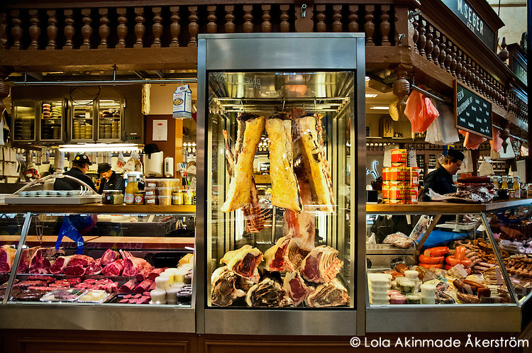 Butcher at Östermalms Saluhall at Östermalmstorg