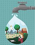Illustration of reforestation concept