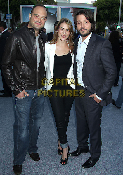 Diego Luna<br /> &quot;Elysium&quot; Los Angeles Premiere held at the Regency Village Theatre, Westwood, California, UK,<br /> 7th August 2013.<br /> full length black leather jacket jeans white black suit grey gray <br /> CAP/ADM/RE<br /> &copy;Russ Elliot/AdMedia/Capital Pictures