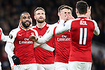 Alexandre Lacazette of Arsenal celebrates scoring his second goal during the UEFA Europa League Quarter-Final 1st leg match at the Emirates Stadium, London. Picture date 5th April 2018. Picture credit should read: Charlie Forgham-Bailey/Sportimage