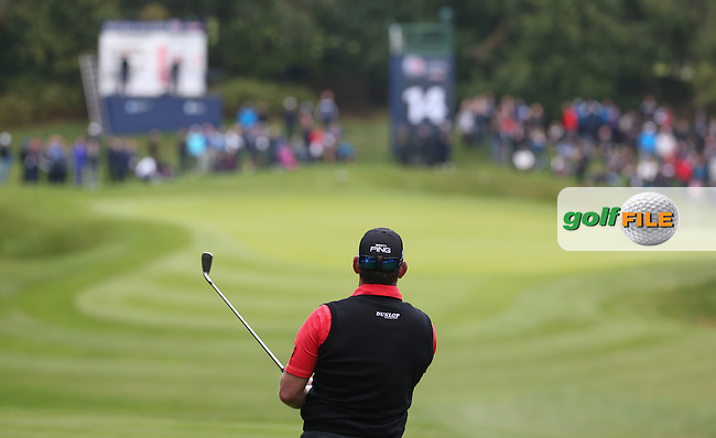 Lee Westwood (ENG) plays to the 14th during the Third Round of the British Masters 2015 supported by SkySports played on the Marquess Course at Woburn Golf Club, Little Brickhill, Milton Keynes, England.  10/10/2015. Picture: Golffile | David Lloyd<br /> <br /> All photos usage must carry mandatory copyright credit (&copy; Golffile | David Lloyd)