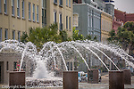 Vendue Fountain is a popular splash pool in the Charleston Waterfront Park in Charleston, SC, a National Historic Landmark district.