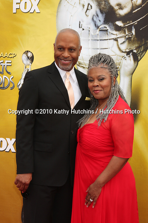 James Pickens Jr.& Wife.arriving  at the 41st NAACP Image Awards .Shrine Auditorium.Los Angeles, CA.February 26, 2010.©2010 Kathy Hutchins / Hutchins Photo....