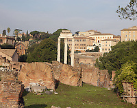 Temple of Castor and Pollux, inaugurated in 484 BC, restored in 117 BC by Lucius Metellus Dalmaticus and finally totally rebuilt by Tiberius in the early 1st century AD, Roman Forum, Rome, Italy, Europe.