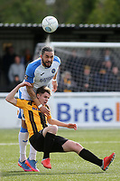 Jordan Rose of Havant and Waterlooville out jumps Maidstone's Jake Embery during Maidstone United vs Havant and Waterlooville, Vanarama National League Football at the Gallagher Stadium on 9th March 2019
