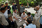 Shanghai - People's Republic of China, May 26, 2013 -- French Concession, Shaoxing Park: men (and a woman) following others playing cards; people -- Photo: © HorstWagner.eu