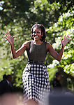First Lady Michelle Obama greets a crowd of nearly 4,000 Wednesday morning, Oct. 3, 2012, on the quad at the University of Nevada, Reno campus..Photo by Cathleen Allison