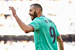 Karim Benzema of Real Madrid celebrates goal during La Liga match between Real Madrid and RCD Espanyol at Santiago Bernabeu Stadium in Madrid, Spain. December 07, 2019. (ALTERPHOTOS/A. Perez Meca)