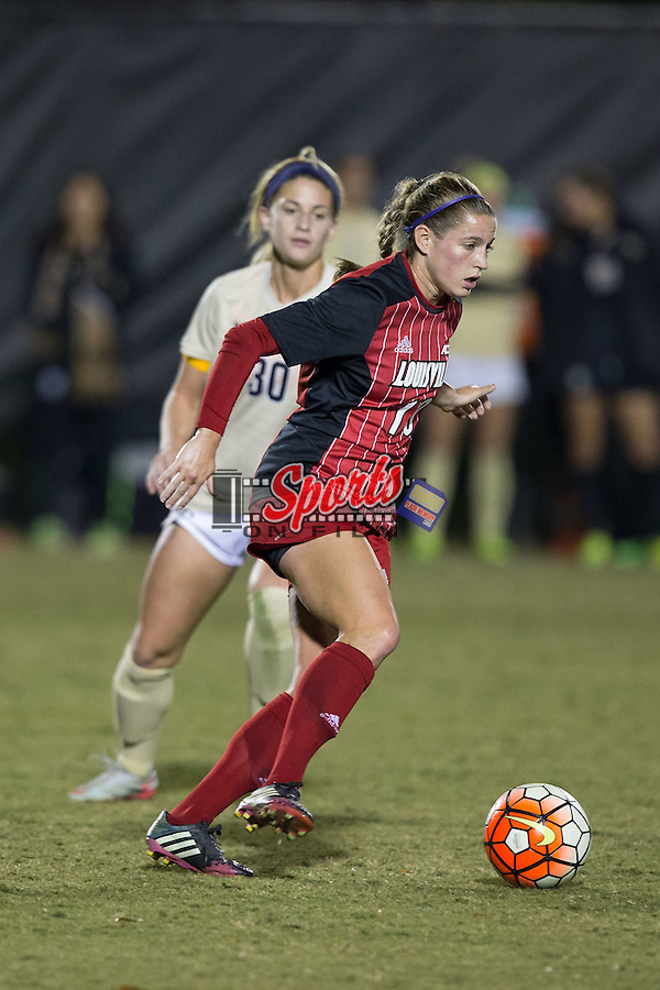 Hannah Konermann (19) of the Louisville Cardinals keeps the ball away from Sarah Medina (30) of the Wake Forest Demon Deacons during second half action at Spry Soccer Stadium on October 31, 2015 in Winston-Salem, North Carolina.  The Demon Deacons defeated the Cardinals 2-1.  (Brian Westerholt/Sports On Film)