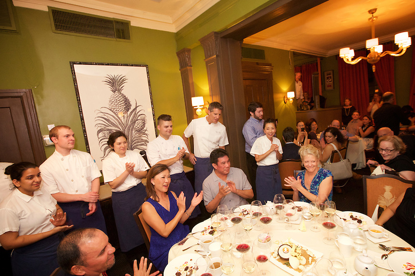 New York, NY - August 8, 2016: Chef Manlee Siu and her team from Angle at Eau Palm Beach Resort &amp; Spa present dinner at the James Beard House.<br /> <br /> CREDIT: Clay Williams for The James Beard Foundation.<br /> <br /> &copy; Clay Williams / claywilliamsphoto.com