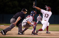 STANFORD, CA - May 10, 2011: Brett Michael Doran of Stanford baseball hits the ball to left-centerfield with two outs in the eleventh inning to drive Tyler Gaffney home for the winning run during Stanford's game against Arizona at Sunken Diamond. Stanford won 1-0.