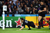 Ben Smith of New Zealand dives for the try-line. Rugby World Cup Pool C match between New Zealand and Namibia on September 24, 2015 at The Stadium, Queen Elizabeth Olympic Park in London, England. Photo by: Patrick Khachfe / Onside Images