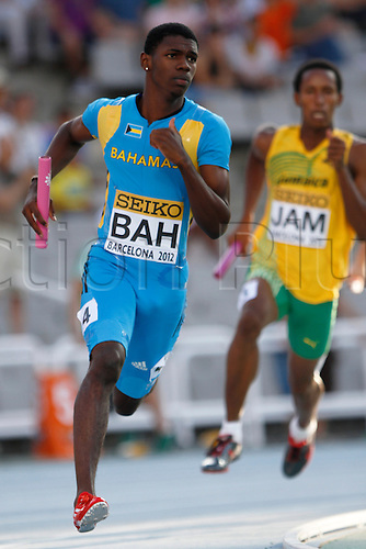 14.07.2012 Barcelona, Spain. Elroy MCBRIDE of Bahamas compete in the 4x400 Metres Relay for Men during day 5 of the IAAF World Junior Championships from the Montjuic Olympic Stadium in Barcelona.