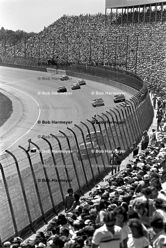 BROOKLYN, MI - AUGUST 11: An overview of the front straight during the Champion Spark Plug 400 NASCAR Winston Cup race at the Michigan International Speedway near Brooklyn, Michigan, on August 11, 1985.
