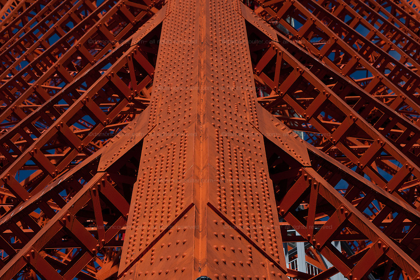 Abstract detail image of girders and rivets on the structure of Tokyo Tower. Minato, Tokyo, Japan. Friday February 3rd 2012
