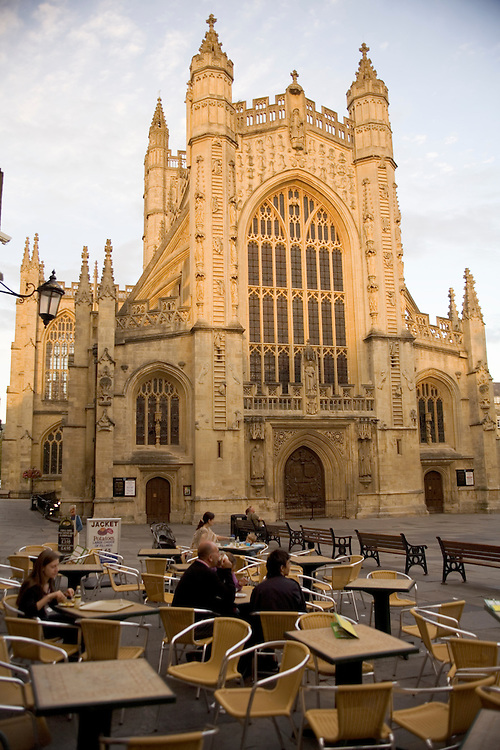 Streetside cafe in front of Abbey in Bath, England