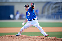 Biloxi Shuckers relief pitcher Matt Ramsey (32) delivers a pitch during a game against the Jackson Generals on April 23, 2017 at MGM Park in Biloxi, Mississippi.  Biloxi defeated Jackson 3-2.  (Mike Janes/Four Seam Images)