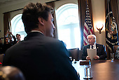 United States President Donald Trump (R) and Canadian Prime Minister Trudeau (L) participates in a roundtable on the advancement of women entrepreneurs and business leaders, at the White House in Washington, D.C. on February 13, 2017. <br /> Credit: Kevin Dietsch / Pool via CNP