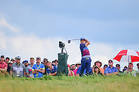 Rickie Fowler (USA) watches his tee shot on 10 during Saturday's round 3 of the 117th U.S. Open, at Erin Hills, Erin, Wisconsin. 6/17/2017.<br /> Picture: Golffile | Ken Murray<br /> <br /> <br /> All photo usage must carry mandatory copyright credit (&copy; Golffile | Ken Murray)