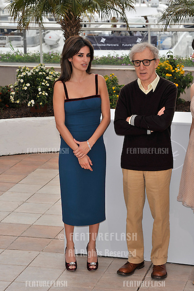 """Woody Allen & Penelope Cruz at the photocall for their new movie """"Vicky Cristina Barcelona"""" at the 61st Annual International Film Festival de Cannes..May 17, 2008  Cannes, France..Picture: Paul Smith / Featureflash"""