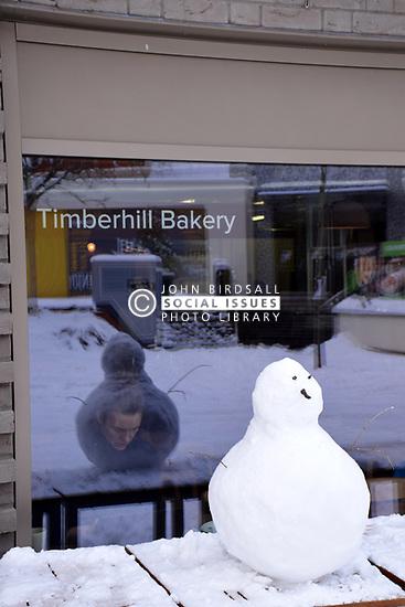 Snow, Norwich Feb 2018 UK. Timberhill Bakery