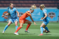 Houston, TX - Saturday May 13, Houston Dash forward Rachel Daly (3), Sky Blue FC defender Christie Pearce (3), and Sky Blue FC midfielder Nikki Stanton (7) during a regular season National Women's Soccer League (NWSL) match between the Houston Dash and Sky Blue FC at BBVA Compass Stadium. Sky Blue won the game 3-1.