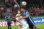 15.04.2019, RheinEnergieStadion, Koeln, GER, 2. FBL, 1.FC Koeln vs. Hamburger SV ,<br />  <br /> DFL regulations prohibit any use of photographs as image sequences and/or quasi-video<br /> <br /> im Bild / picture shows: <br /> Douglas Santos (HSV #6), drueckt Jhon C&oacute;rdoba (FC Koeln #15),   hier brutal zu Boden<br /> <br /> Foto &copy; nordphoto / Meuter