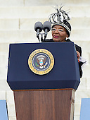 Christine King Farris, the eldest and only living sibling of the late Dr. Martin Luther King, Jr., makes remarks at the Let Freedom Ring ceremony on the steps of the Lincoln Memorial to commemorate the 50th Anniversary of the March on Washington for Jobs and Freedom<br /> Credit: Ron Sachs / CNP
