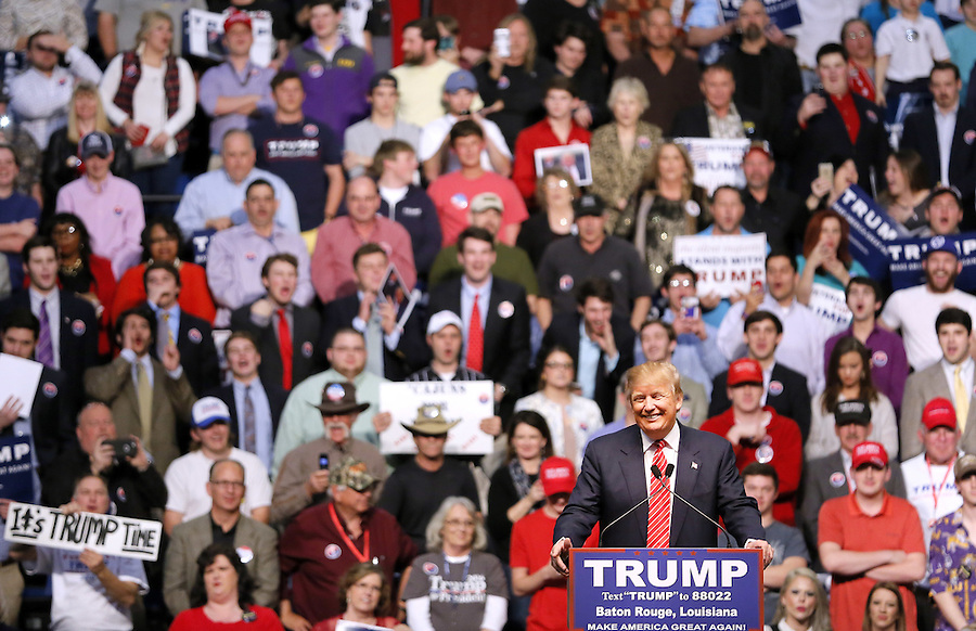 Republican U.S. presidential candidate Donald Trump holds a rally in Baton Rouge in Baton Rouge, Louisiana February 11, 2016. REUTERS/Jonathan Bachman