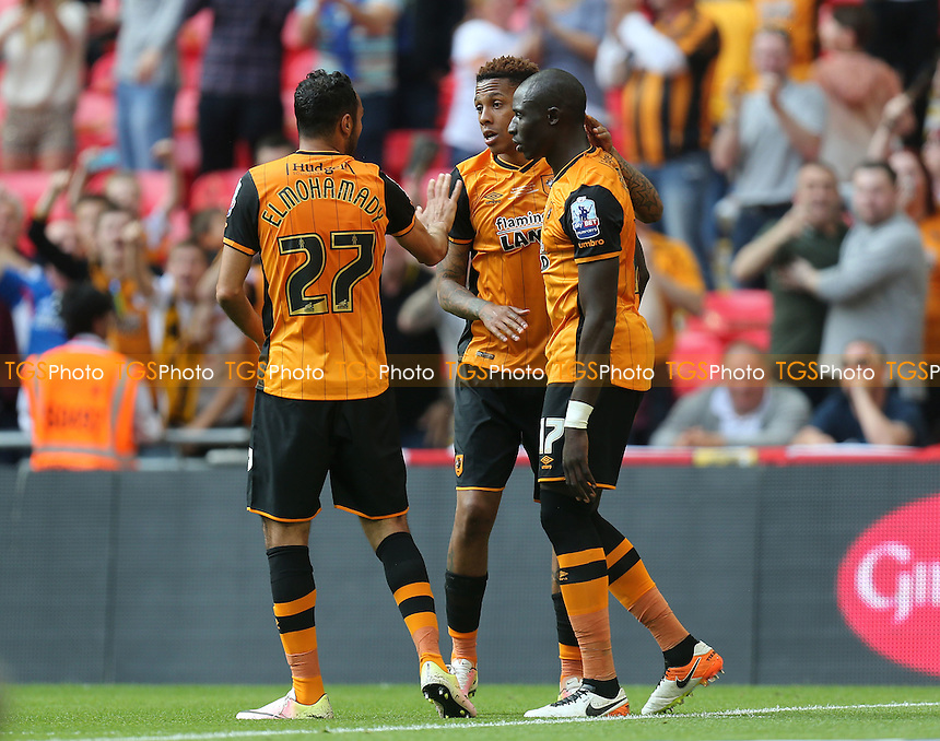 Mohamed Diame of Hull City is congratulated after scoring the opening goal during Hull City vs Sheffield Wednesday, Sky Bet Championship Play-Off Final Football at Wembley Stadium on 28th May 2016