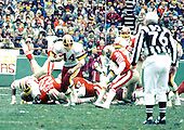 Washington, D.C. - January 8, 1984 -- Washington Redskins running back John Riggins (44) carries the ball in the NFC Championship game against the San Francisco 49ers at RFK Stadium in Washington, D.C. on Sunday, January 8, 1984.  The Redskins won the game 24 - 21 to go to Super Bowl XVIII..Credit: Arnie Sachs / CNP